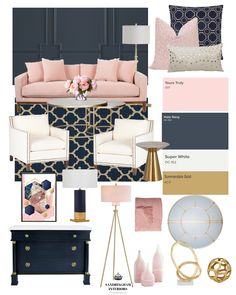 Create the Look Glam Navy 038 Pink Living Room Create the Look Glam Navy 038 Pink Living Room Bindi Patel cushylife Living room One of my favorite color nbsp hellip Blue And Pink Living Room, Blush Living Room, Navy Living Rooms, Living Room Accents, Living Room Color Schemes, Home Living Room, Pink Room, Blue And Gold Bedroom, Living Room Decor Palette