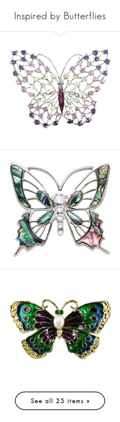 """""""Inspired by Butterflies"""" by eternal-collection ❤ liked on Polyvore featuring jewelry, brooches, purple jewelry, purple brooch, monarch butterfly jewelry, swarovski crystal brooch, swarovski crystal jewellery, seashell jewelry, silvertone jewelry and silver tone jewelry"""
