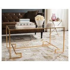 Burton Coffee Table - Gold & Clear - Safavieh : Target