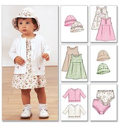 Butterick 3782 Infants' Jacket, Dress, Panties and Hat - size 13 Toddler Sewing Patterns, Baby Girl Patterns, Kids Patterns, Sewing For Kids, Baby Sewing, Handmade Baby Clothes, Diy Clothes, Girls Dresses Sewing, Sewing Basics