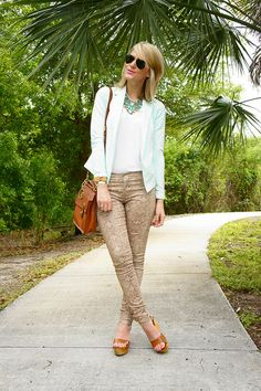 Jennifer Rand of Belle de Couture wearing James Jeans Twiggy Skinny Legging in Nude Python, LillaP NYC mint green blazer, Alternative Apparel tee, Ash Shoes wooden wedges, vintage Coach bag, Oia Jules bracelet, Cinco Powell monogrammed tag, JenHoodenpyle necklace, and RayBan sunglasses via sunglassesshop.com