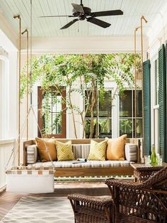 48 Amazing Southern Living Porch Swing Bed Ideas You'll Love - Craft Home Ideas Southern Living, Country Living, Outdoor Rooms, Outdoor Living, Outdoor Furniture Sets, Outdoor Decor, Outdoor Lounge, Patio Interior, Interior Design