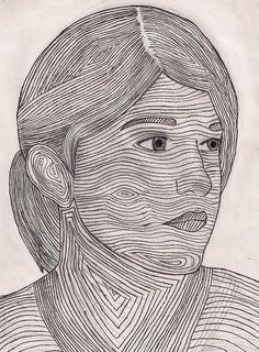 self portrait and contour lines.