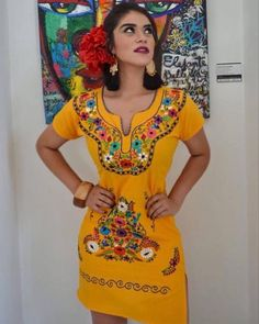 May 2020 - Las Flores Mexican Embroidered Dress Yellow - Ethnic Heritage Mexican Fashion, Mexican Outfit, Mexican Dresses, Mexican Style, Mexican Bridesmaid Dresses, Mexican Menu, Mexican Heritage, Mexican Traditional Clothing, Traditional Dresses