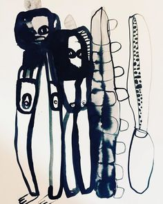 """Watercolor ink painting """"Don't Belong"""" by Emma Larsson Abstract Watercolor Art, Ink Painting, Watercolor And Ink, Watercolor Paintings, Black And White Artwork, Ink In Water, Tinta China, Guache, Fashion Painting"""