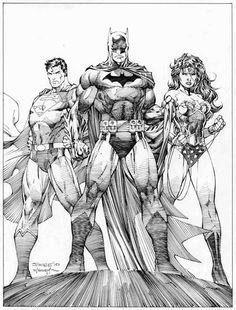 Some of my favorite heros by one of my favorite artists!  Batman, Superman, & Wonder Woman by Jim Lee.