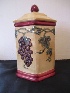 Vintage Tuscan Nonni's Biscotti Jar Grape Leaves Cookie Cannister Wine Country