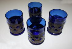 Vintage hand blown cobalt tumblers imprisoned by AntiqueApplePie