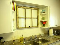 kitchen sink no window, with small shelves