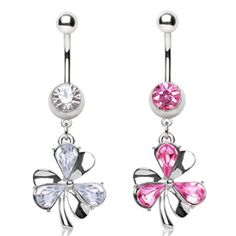 316L Surgical Steel Navel Ring with Clover Leaf Shaped Dangle