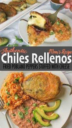 These Authentic Chiles Rellenos are egg-battered poblano peppers stuffed with a blend of white cheeses and onion. They are pan fried until a crispy golden crust has formed. A delicious authentic special meal to make for the family! Authentic Mexican Recipes, Mexican Food Recipes, Vegetarian Recipes, Cooking Recipes, Stuffed Food Recipes, Authentic Food, Mexican Breakfast Recipes, Mexican Desserts, Cheese Recipes