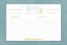 Beach Bridal Shower Recipe Card Beach Recipe by TheInvitationOven