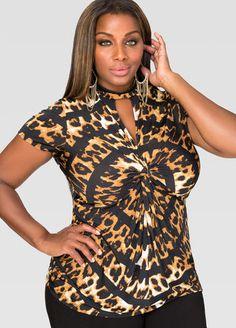 Printed Twist Front Keyhole Top-Plus Size shirts-Ashley Plus Size Shirts, Plus Size Tops, Diva Fashion, Plus Fashion, Womens Fashion, Plus Size Fashionista, Full Figured Women, Plus Size Beauty, Ashley Stewart