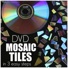 Learn how how to turn old CDs and DVDs into mosaic tiles in 3 easy steps. Great for kids crafts, adult crafts, Christmas ornaments and more. Cd Mosaic, Easy Mosaic, Mirror Mosaic, Mosaic Garden, Mosaic Crafts, Mosaic Projects, Mosaic Glass, Craft Projects, Recycling Projects