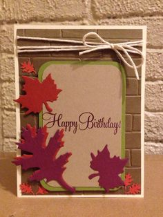 #MOJO418, birthday card, fall, leaves, Darice assorted leaves die, sizzix brick wall embossing folder, rich razzleberry, crumb cake, soft suede, old olive, very vanilla