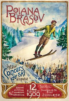 'Romania, winter, ski, sport, vintage travel poster' Poster by AmorOmniaVincit Old Posters, Vintage Ski Posters, Vintage Advertisements, Vintage Ads, Vintage Room, Romania Map, Brasov Romania, Photo Vintage, Poster Ads