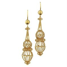 A pair of Georgian gold wire openwork drop earrings