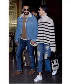 Deepika Padukone and Ranveer Singh are a couple made in heaven . Deepika Ranveer, Deepika Padukone Style, Ranveer Singh, Aishwarya Rai, Winter Fashion Outfits, Chic Outfits, Celebrity Airport Style, Celebrity Outfits, Priyanka Chopra Wedding