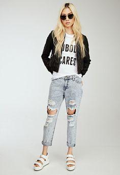 Distressed Mid-Rise Boyfriend Jeans - http://ninjacosmico.com/boyfriend-jeans-vs-mom-jeans/