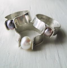 Black Pearl Rivet Ring  Genuine Cultured Pearl by janeeroberti, $85.00