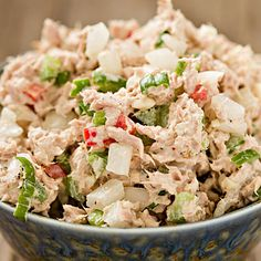 Tuna salad: Problem is, most people add mayo, which tacks on an additional 90 calories and 10 grams of fat per tablespoon. - 30 Healthy Foods That Could Wreck Your Diet | Health.com