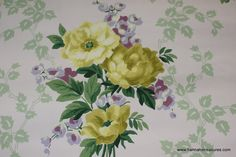 1940's Vintage Wallpaper Yellow Roses with ♥ by HannahsTreasures, $14.00