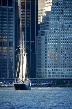 Sail boat and Wall Street