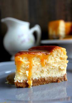 Tarta de queso, chocolate blanco y caramelo