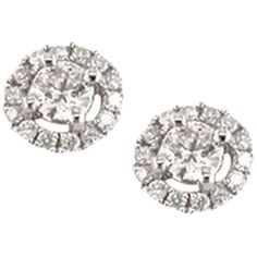 EWA 18ct White Gold Diamond Cluster Stud Earrings, White Gold (€1.000) ❤ liked on Polyvore featuring jewelry, earrings, drusy earrings, monarch butterfly earrings, claw earrings, druzy stud earrings and circle earrings