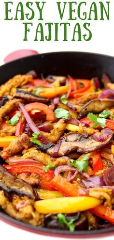 These vegetarian fajitas are so quick, easy, and delicious, they will soon be put into your family's weekly meal rotations. Packed with healthy veggies like portabella mushrooms, bell peppers, zucchini, and onions and filled with all of your favorite toppings like vegan cheese, vegan sour cream, salsa, and guacamole you won't be able to get enough of these vegan fajitas!#thehiddenveggies Vegan Mexican Recipes, Vegan Dinner Recipes, Delicious Vegan Recipes, Vegan Dinners, Vegetarian Recipes, Healthy Recipes, Healthy Foods, Breakfast Recipes, Vegan Fajitas