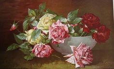 c1897 Roses Print Half Yard Long Chromolithograph Dangon Cabbage Rose Offered by Victorian Rose Prints on Ruby Lane