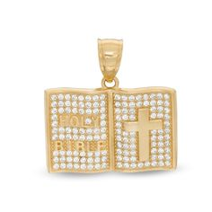 This men's cubic zirconia Holy Bible necklace charm is fashioned gold. Add this charm to your favorite chain (sold separately). Baby Jewelry, Jewelry Tags, Art Deco Jewelry, Fine Jewelry, Modern Bridal Jewellery, Bridal Jewelry, Pagoda Jewelry, Touch Of Gold, Necklace Charm
