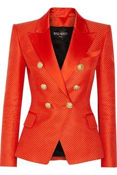 Balmain | Duchesse satin-trimmed woven cotton and silk-blend blazer | NET-A-PORTER.COM