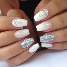 27 Ideas Birthday Nails Sparkle Silver For 2019 Silver Nails, Glam Nails, Fancy Nails, Love Nails, White Nails, Beauty Nails, Glitter Nails, My Nails, Hair And Nails