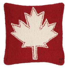 Show your Canadian pride with this red and white maple leaf design. Designed by famed Vermont folk artist Laura Megroz, this plump hooked wool pillow is fil Canadian Maple Leaf, Rustic Pillows, Wool Pillows, Rug Hooking, Designer Throw Pillows, Leaf Design, Cozy House, Pillow Design, Punch Needle