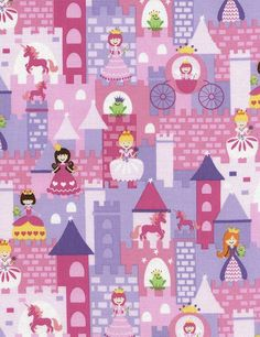 Timeless Treasures Fairy Tale Mini Princess Castle Pink - 100% Cotton - FQ and Half Yard Cuts left