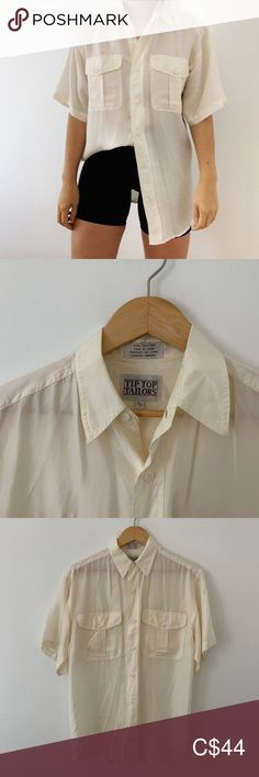 By Tip Top Tailers, likely a mens shirt but perfect for wearing oversized with bike shorts. creamy white, size S (mens) so I've labeled it as an XL. Tip Top Tailors Tops Button Down Shirts White Short Sleeve Blouse, Silk Shorts, Plus Fashion, Fashion Tips, Fashion Trends, Blouse Vintage, Creamy White, Colorful Shirts, Ruffle Blouse