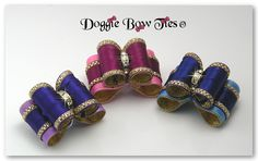 """""""All Tied Up"""" Dog Bows are another creative original full size show dog bows design by Doggie Bow Ties! This bow features gold edges on layered satin which resembles a 'tied up bow' on top of a bow."""