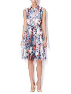Flo Satin Accordion Pleat Shirt dress L.K. Bennett floral print