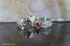 Celtic Rings with Sapphires in Silver and Gold