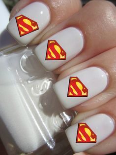 Superman Nail Decals by PineGalaxy on Etsy, $4.50