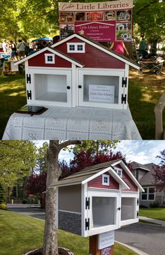 After first taking this two door Craftsman little free library with us to show it off from our booth at the Garden Expo, we later installed it just inside the gated Lloyd Charles community in Spokane, Washington, where it was a perfect match for the up-scale neighborhood. Built by Little Library Builder of Spokane! www.littlelibrarybuilder.com Little Free Libraries, Little Library, Free Library, Spokane Washington, Fairy Houses, Perfect Match, Carpentry, Craftsman, The Neighbourhood