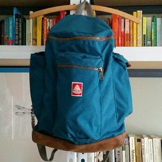 """Jansport Heritage Hoss Retro looking backpack. Stuffed pockets for first pic, but when empty they are smoother. Smaller style : back panel is 13"""" from top to where leather begins, 11"""" across (at bottom of back panel). Last pic shows size. Jansport Bags Backpacks"""