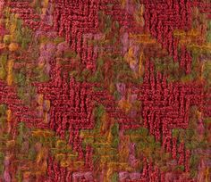 BRAZIL HOUNDSTOOTH SAMPLE, 1963. Double cloth houndstooth fabric, woven in gimped wool and space-dyed brushed mohair yarns, and polyester and wool yarns, in light and dark pink, green, orange and yellow.