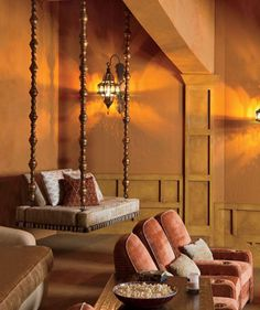 hanging bed - Google Search hanging beds, architectural digest, home theaters, movie rooms, theater rooms, club chairs, will smith, media rooms, swing