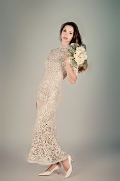 This is a beautiful crocheted dress, and not to mention there re no seams  gorgeous.