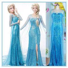 2016 elsa costume dresses Elsa costume frozen princess elsa dress frozen costume adult cosplay halloween costumes for women fantasia elsa frozen custom Elsa Cosplay, Cosplay Dress, Costume Dress, Cosplay Costumes, Cosplay Outfits, Fancy Maxi Dress, Fancy Gowns, Dress Up, Dress Skirt