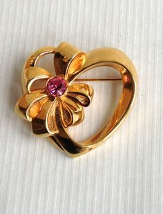 Gold Heart with Pink Rhinestone - Perfect Gift for your Sweetheart!