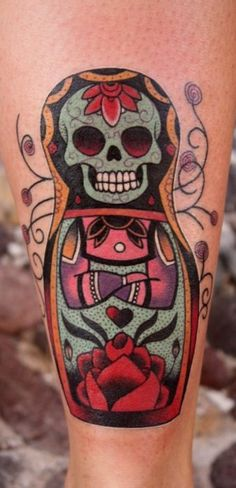 I always wanted a Russian Doll tattoo, why didn't I ever think to combine it with a Sugar Skull???!!!!!! NEED.