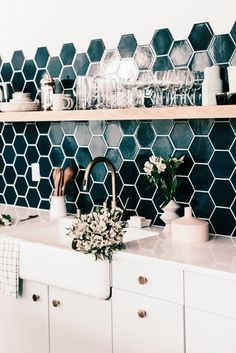 Honeycomb tile in kitchen, dark green tile